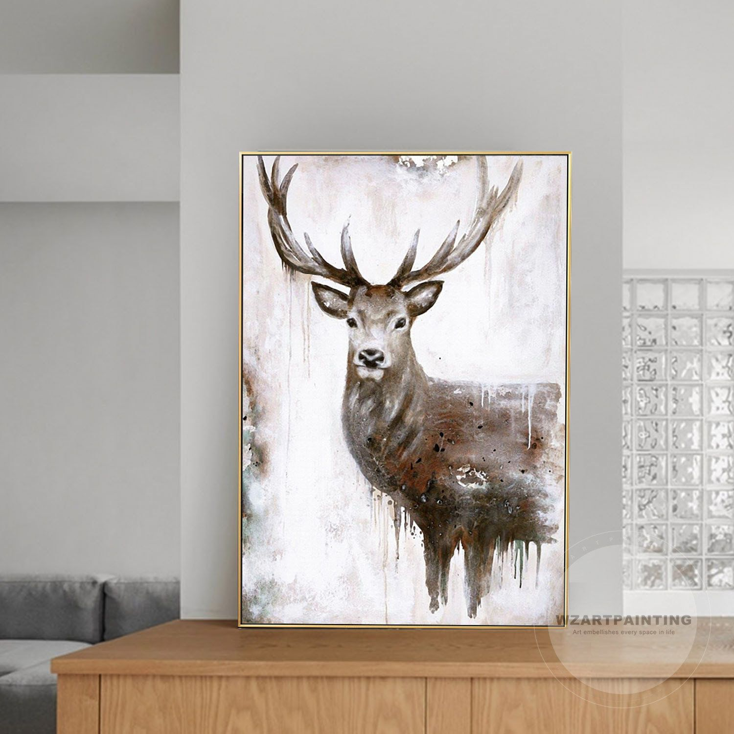 Framed Wall Art Deer Animal Print Painting Digital Prints Etsy Deer Painting Art Framed Wall Art