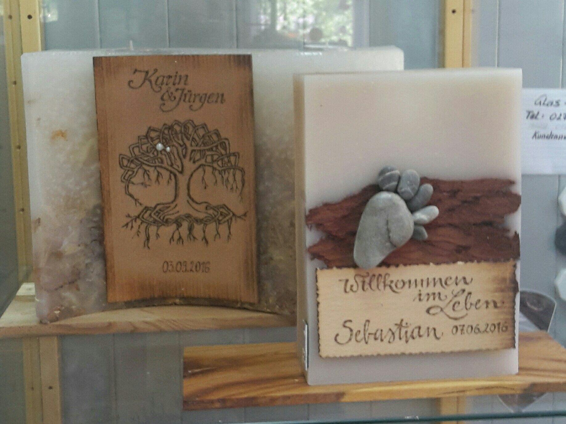 woodburning Hochzeitskerze Taufkerze Dagis Deko Tirol