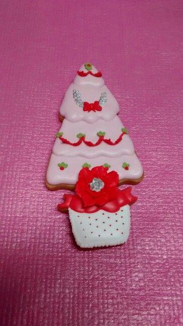 Galleta árbol de navidad decorada con glasa