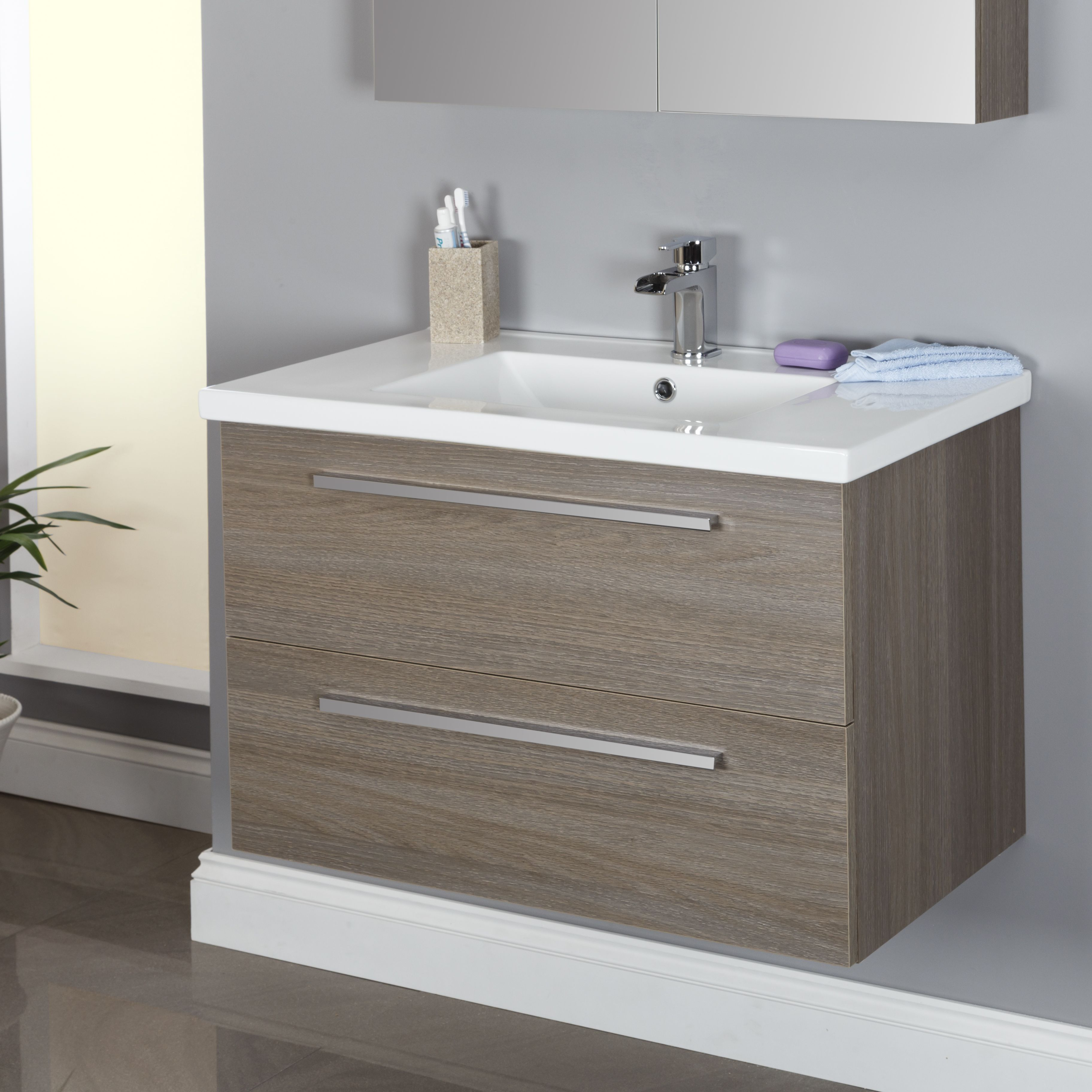 Vasari Wall Hung Vanity Unit Amp Basin Grey Oak 800mm