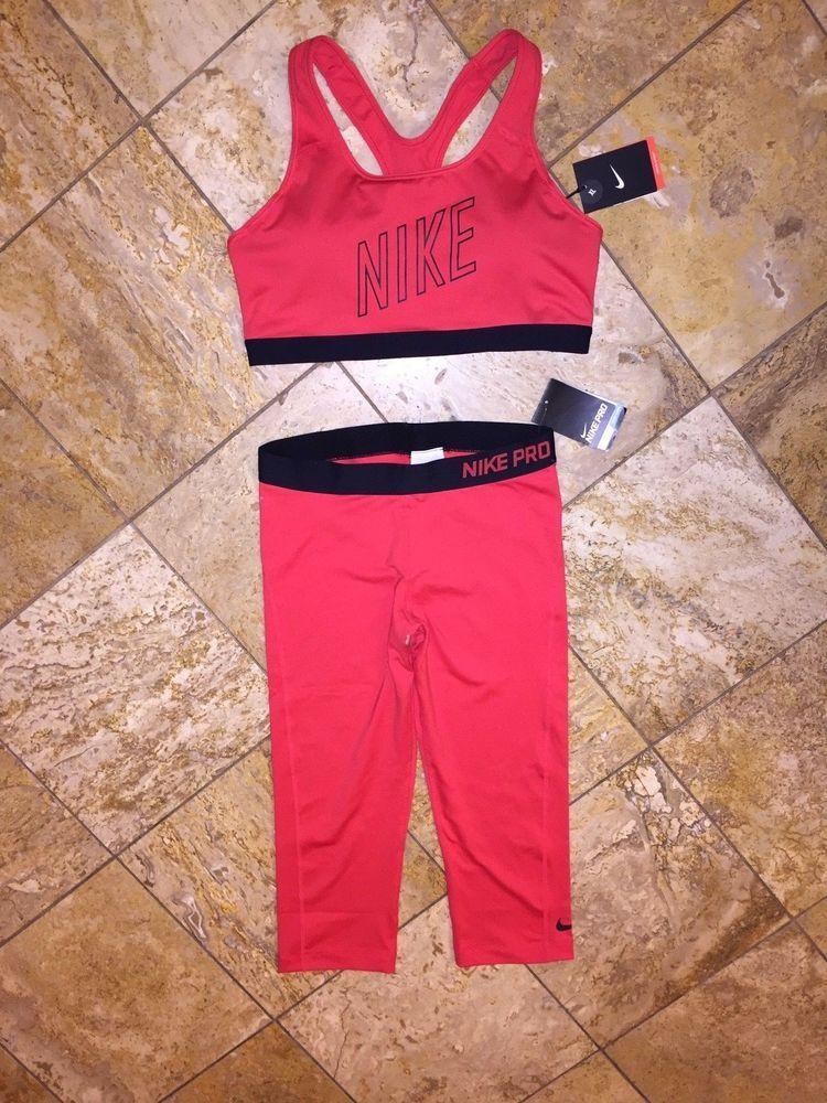 NWT Nike Set DriFIT Red Sports Bra Running Tights Capris
