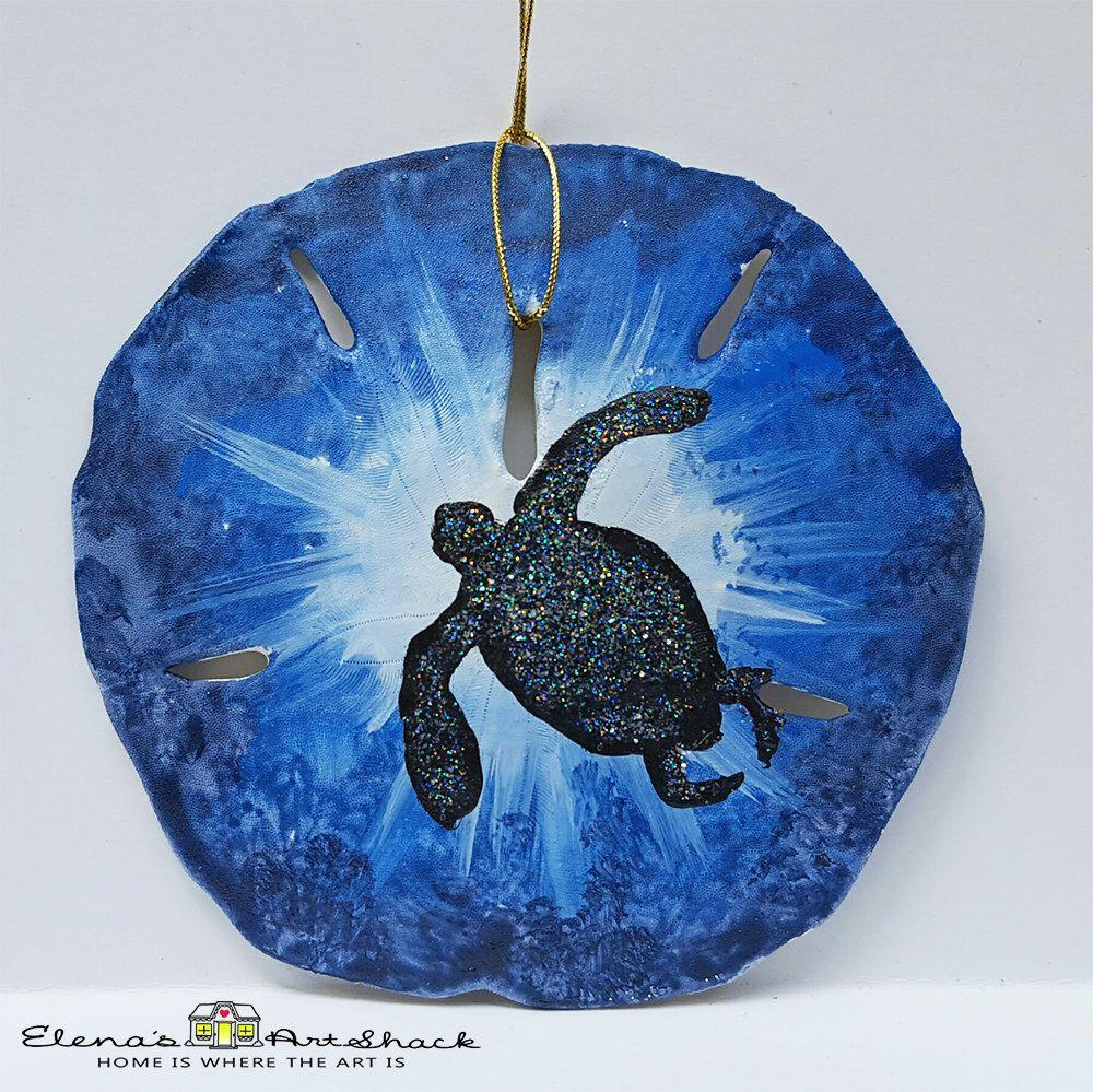 Sand dollar ornament - Hand Painted Sea Turtle Coastal Christmas Tree Ornament Real Florida Sand Dollar Ornament Sanddollar