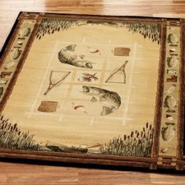 United Weavers Genesis Lakeside Mouth B Fish Rug Collection In 4 Sizes And Hall Runner To Help You Coordinate Your Rustic Fishing Lodge Home