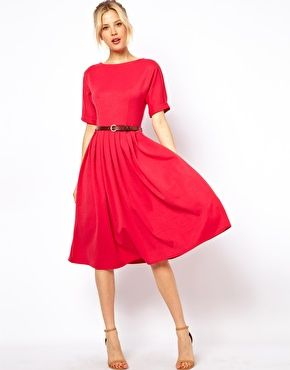 Midi Dress With Full Skirt And Belt Pleated Midi Dress