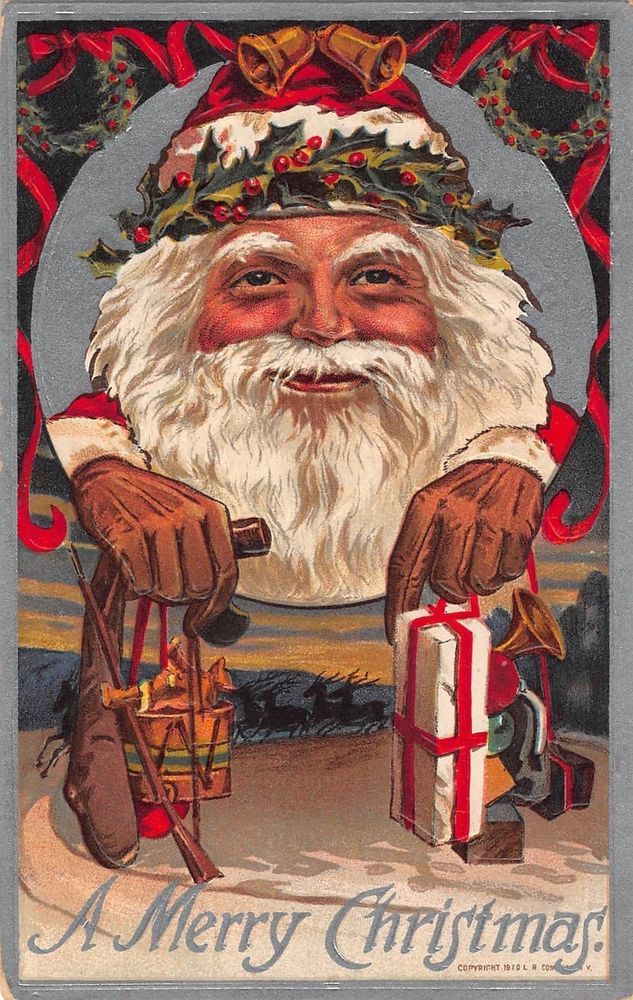 Christmas Postcard Large Holly Adorned Santa Claus Head with Toys~108154 #Christmas