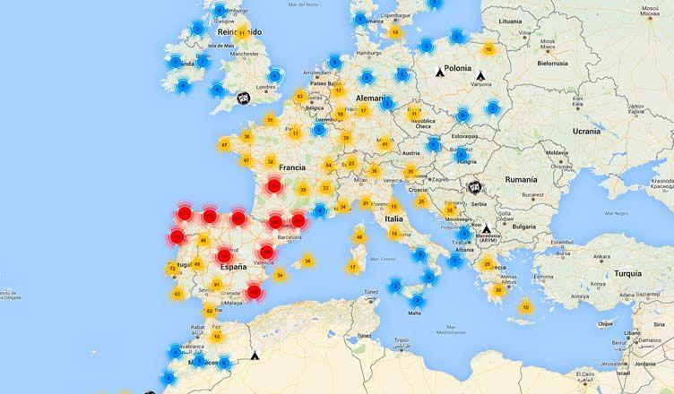 Mapa de los mejores lugares para dormir en furgoneta en Espaa