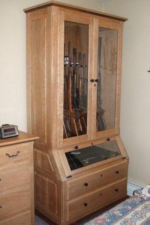 Custom Made Solid Cherry & Walnut Gun Cabinet | casa | Pinterest ...
