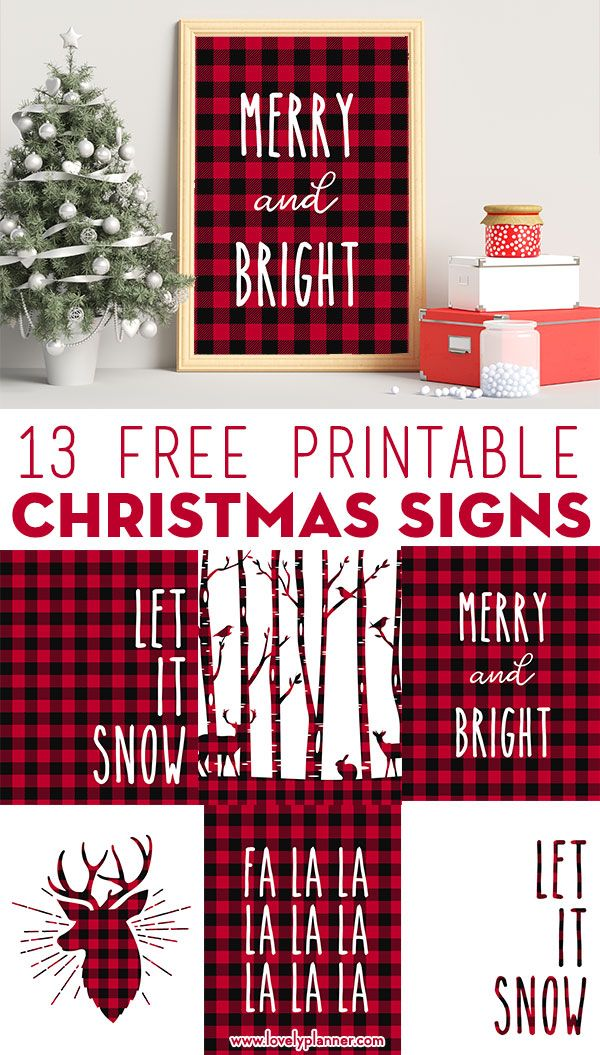 13 Free Printable Buffalo Plaid Christmas Signs - Lovely Planner
