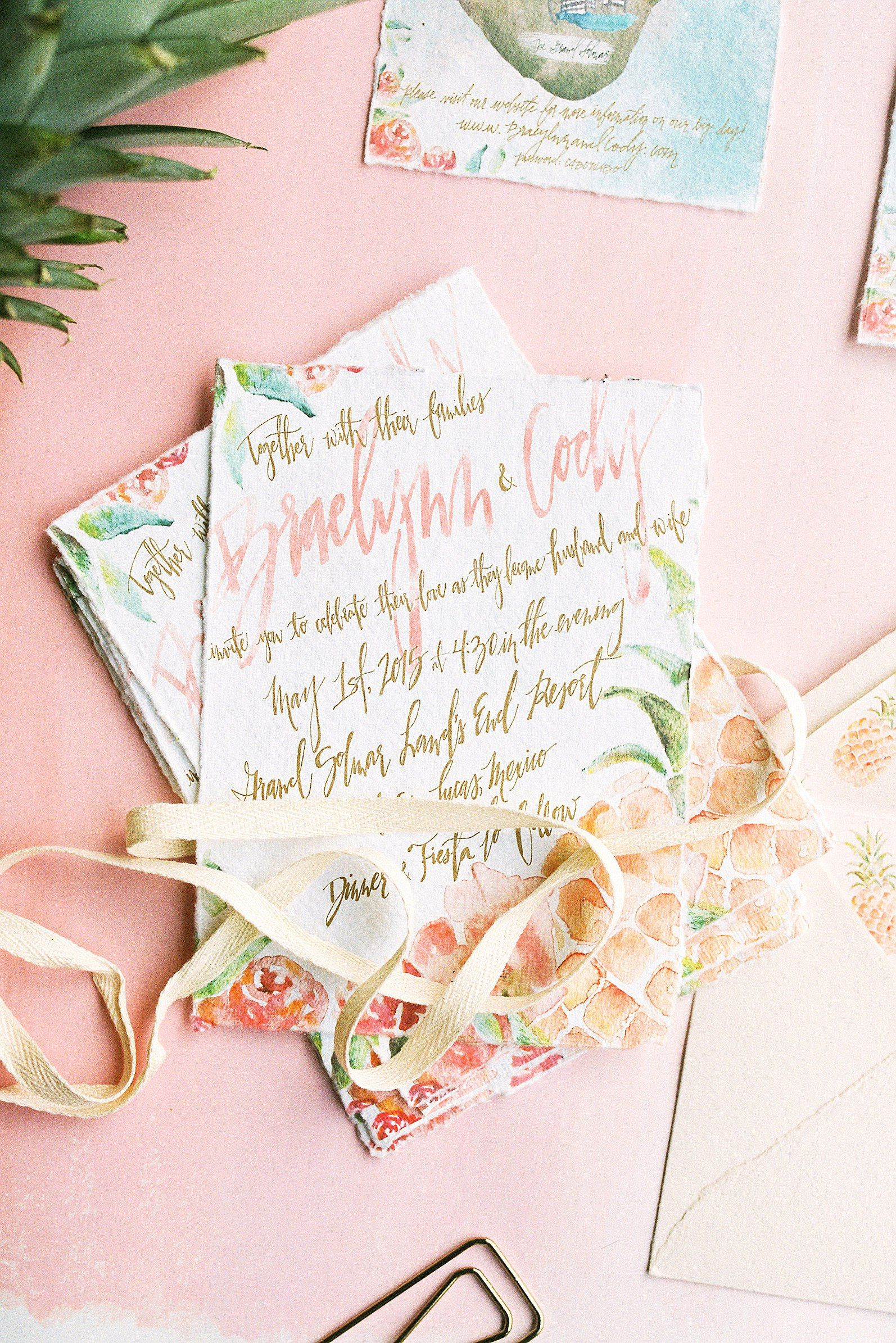 A swim in st martin tropical wedding invitation foil