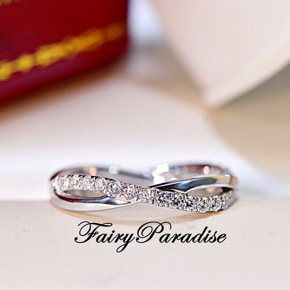 Twisted Infinity Wedding Band with Man Made Diamonds Stackable