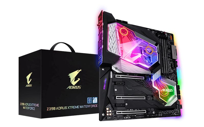 Gigabyte's Z390 Aorus Xtreme WaterForce has a huge monoblock for the