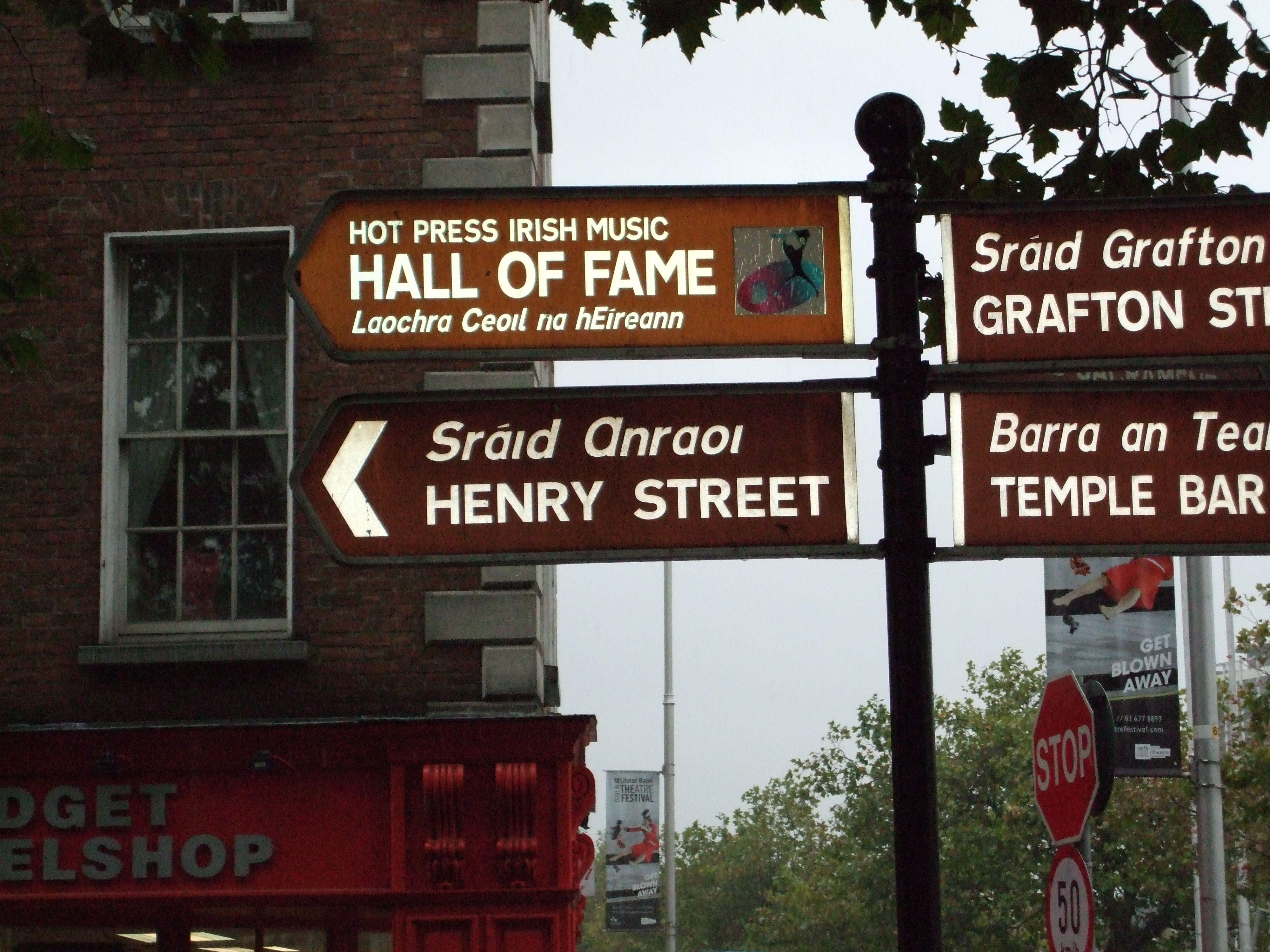 Bilingual English/Irish street name sign, Dublin, Ireland ...