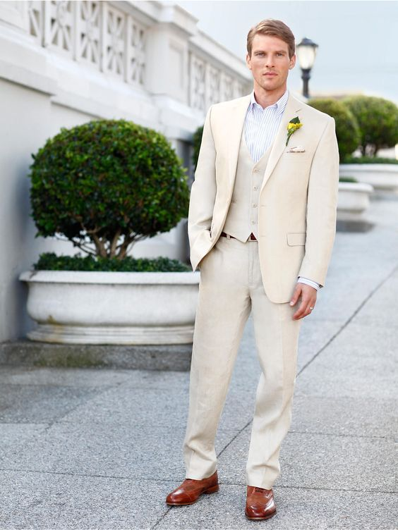 6f27a5e5de Click to Buy << Latest Coat Pant Design Champagne Linen Beach Wedding Men  Suit Slim Fit 3 Piece Groom Tuxedo Custom Prom Blazer Terno Masculino  #Affiliate
