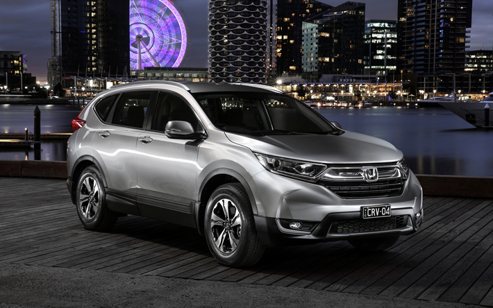 Download Wallpapers Honda CR V 2018 4k New Cars Crossover Silver Exterior Japanese