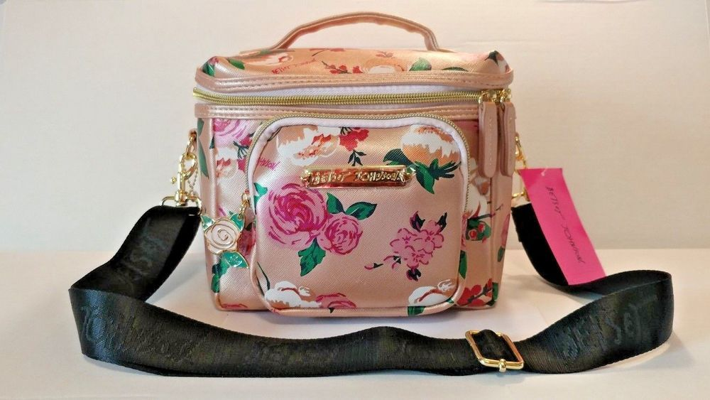 27661fe7d098 BETSEY JOHNSON Insulated Cargo Lunch Tote Box Floral Rose Gold ...