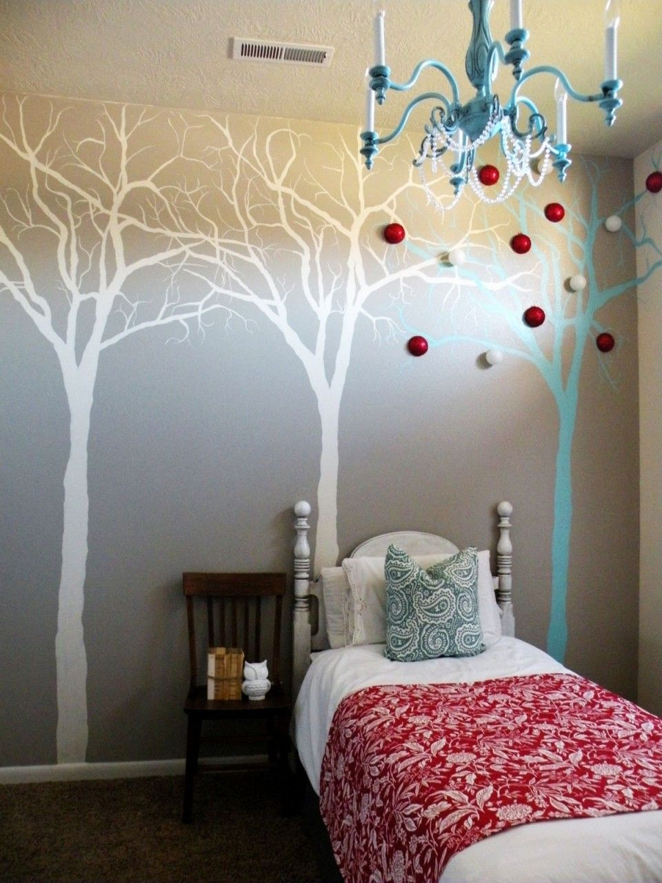 Tree wall mural ideas in small bedroom with blue throw pillow tree wall mural ideas in small bedroom with blue throw pillow floral quilt and white headboard amipublicfo Image collections