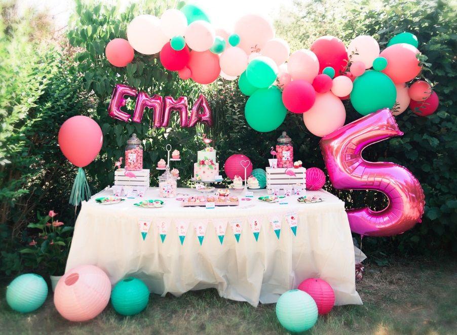 Tropical party Flamingo , Anniversaire flamant rose Emma 5 ans