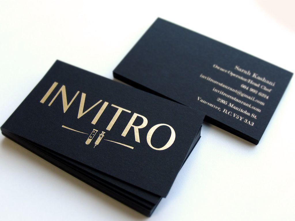 Black Business Cards, Matte gold foil on both sides, 700gsm Black ...