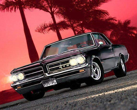 Muscle Car Print – 1964 Pontiac GTO – Classic Car Print – American Iron – 8 x 10 Giclee Print w/ 11 x 14 Mat, AW33