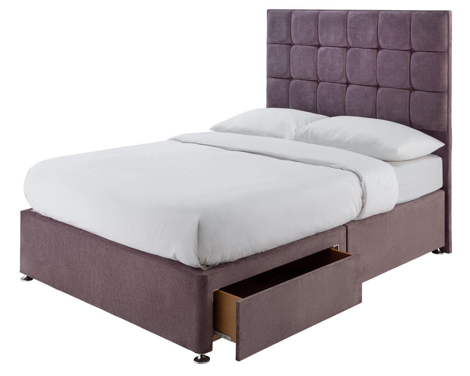 Buy Forty Winks 1500 Pocket Gel 2 Drawer Double Divan Mauve Divan Beds Argos In 2020 Divan Bed Double Divan Bed Mattress Springs