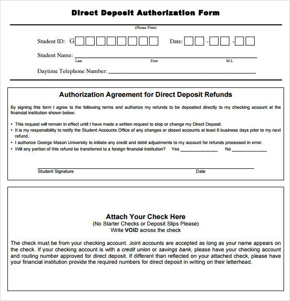 Sample Direct Deposit Authorization Form Examples Download Free
