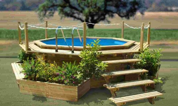Enchanting Above Ground Swimming Pool Design With Ergonomic Desk Lounge  Chairs: Small Octagon On The