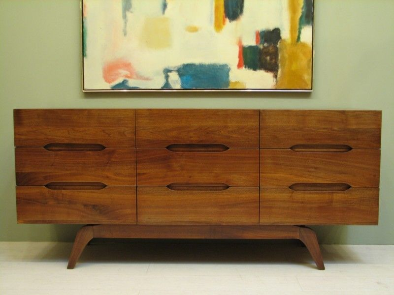 small mid century modern credenza for sale fifties sixties danish mod walnut teak dresser storage bedroom refinished vintage furniture mad men style cred
