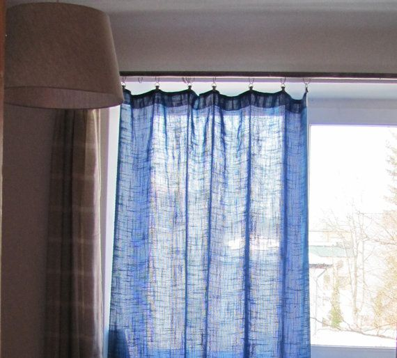 Vintage Curtain Panel; Bright Blue U0026 Purple Woven Fabric Curtains; Middle  Blue / Cyan
