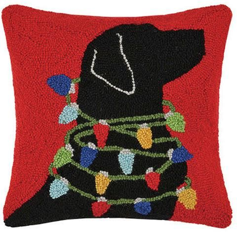 Christmas Black Lab Holiday Lights Dog Hooked Wool Throw Pillow 16 X 16 Rug Hooking Patterns Christmas Pillow Wool Throw Pillows