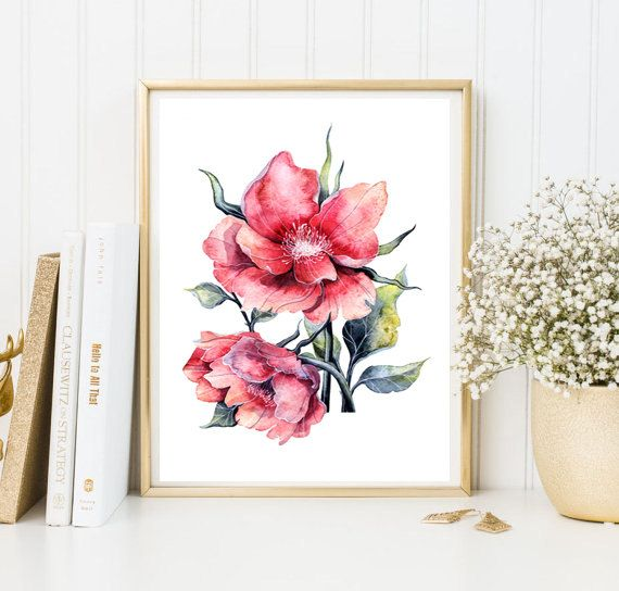 Home decor watercolor flowers wall art print living room decor home ...