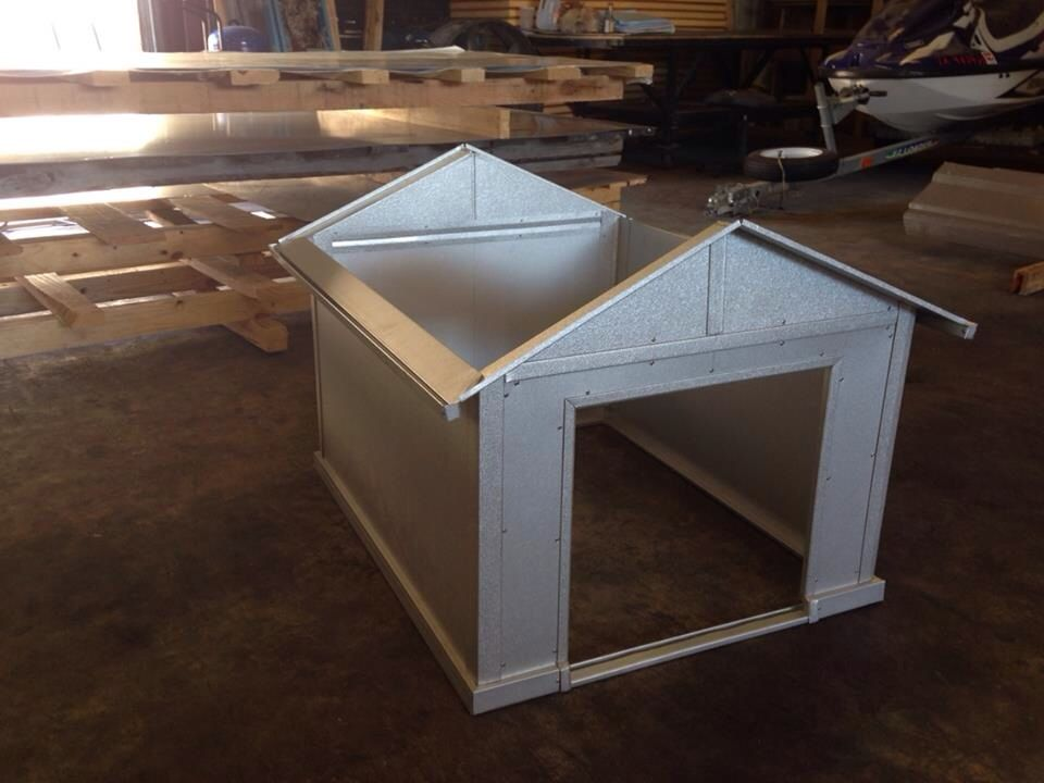 My Sheet Metal Guys Are Building My Wife A Dog House For Our Pet Pretty Cool Even Has Miniature Gutters Roofing Dog House Pretty Cool