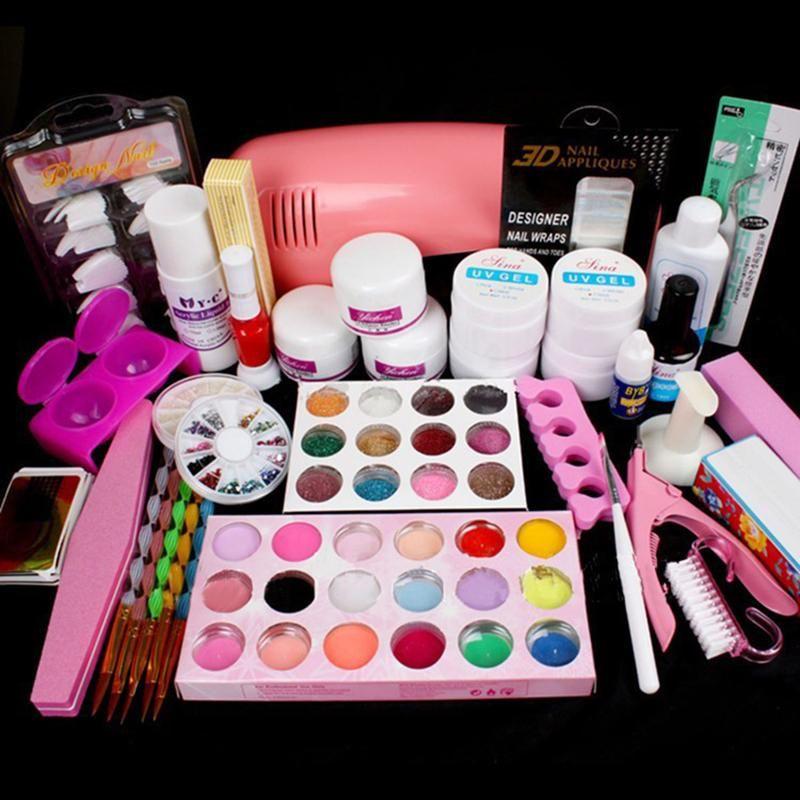 Nail Art Salon Supplies Kit Tool with UV Lamp UV Gel Nail Polish DIY ...