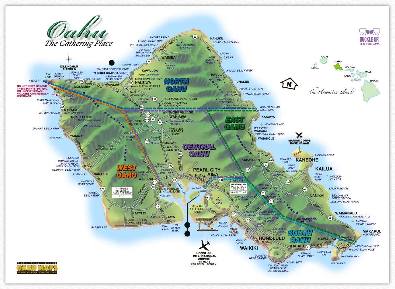 Hawaii Maps Oahu Island Map This highly detailed rental car