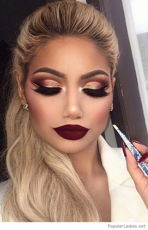 Blonde Ponytail And Burgundy Lips Winter Makeup Holiday Makeup Holiday Makeup Looks