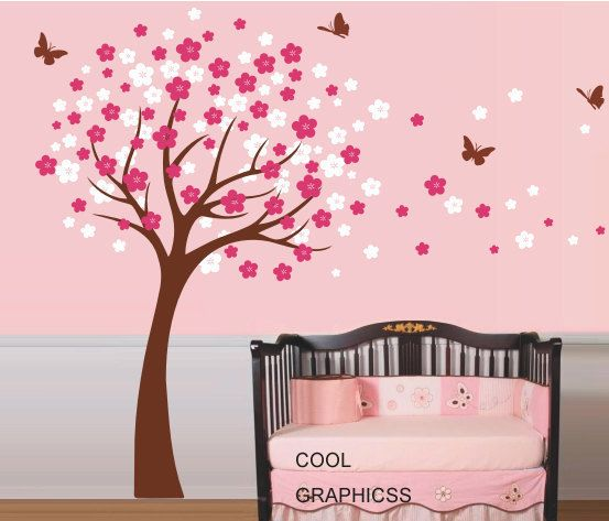 cherry blossom wall decal nursery wall decal girl wall decal tree