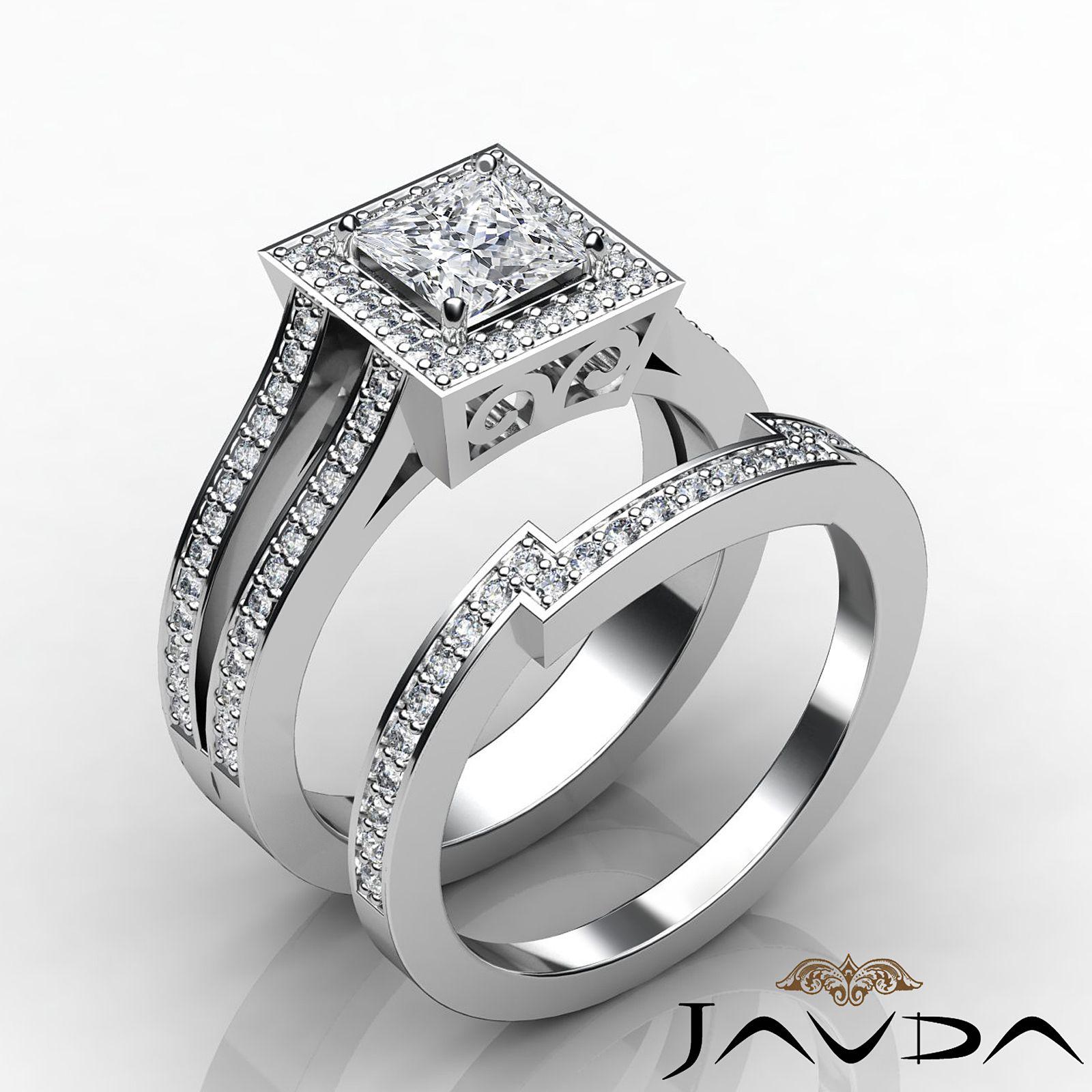 Princess Cut Diamond Engagement GIA G VS2 Bridal Set Ring 14k