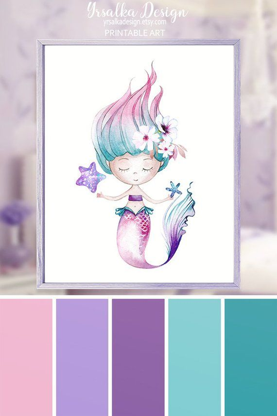 Mermaid Wall Art Kids Bathroom Decor Little Girls Turquoise Room Decor Nautical Ocean Nursery Art Under the Sea Theme Art Printable 8x10