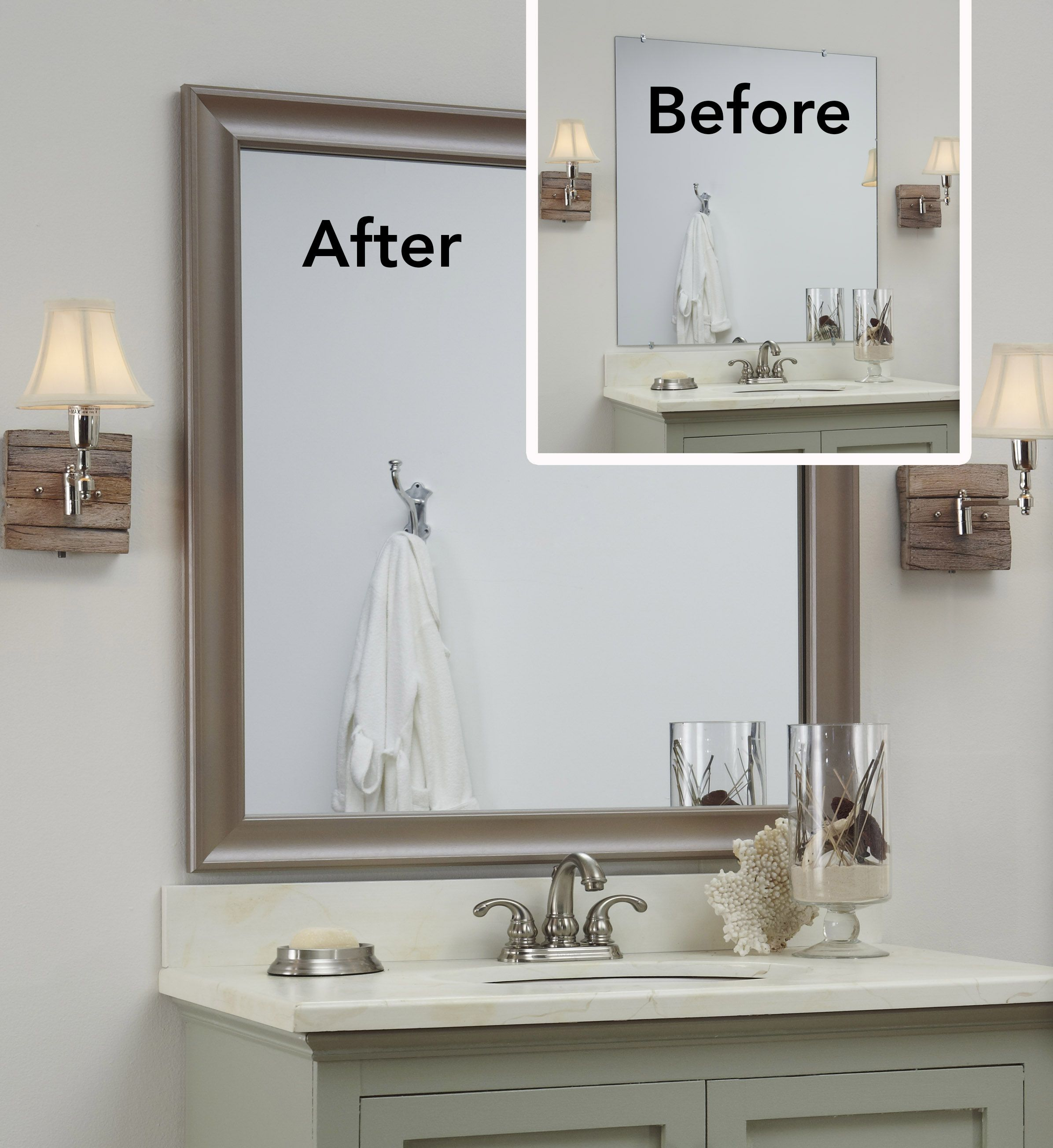 The before is a bare plate glass mirror the after a