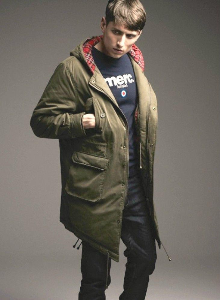 Merc Fishtail Parka Tobias Combat Green Retro Mod Tartan Lining ...