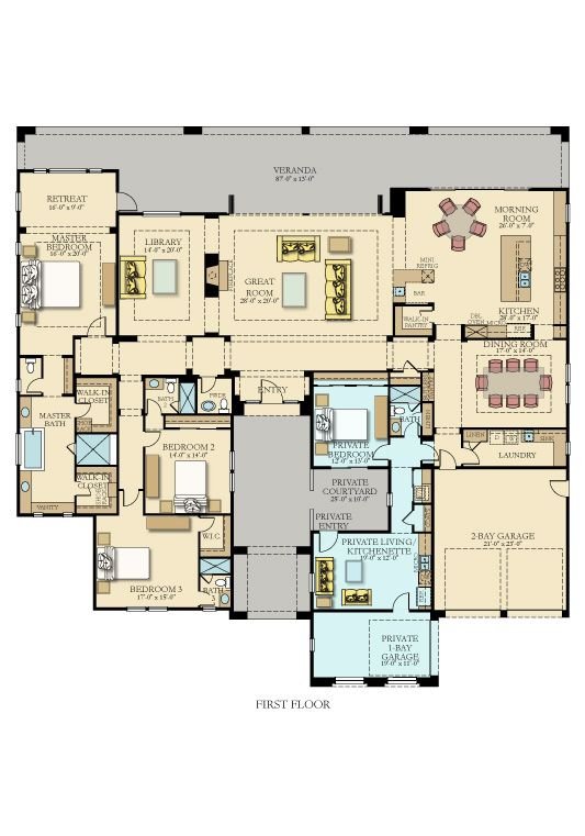 Love Love Love The Fact That The Master Bedroom Is One Whole Side Of The House Multigenerational House Plans New House Plans House Plans