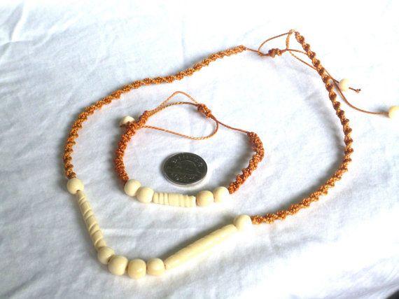 Vintage Twine/Beaded Necklace/Bracelet Set  N110 by GraffitiCat, $5.00