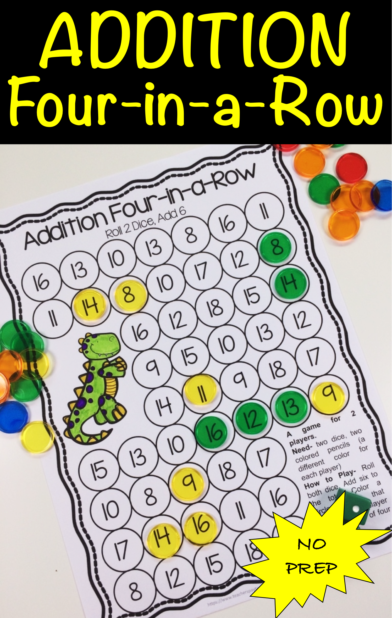 Addition Four In A Row A No Prep Game For Two Players For Practising Basic Addition Adding 1 To 10 Contains 20 Different Math Games Fun Math Fun Education [ 2361 x 1497 Pixel ]