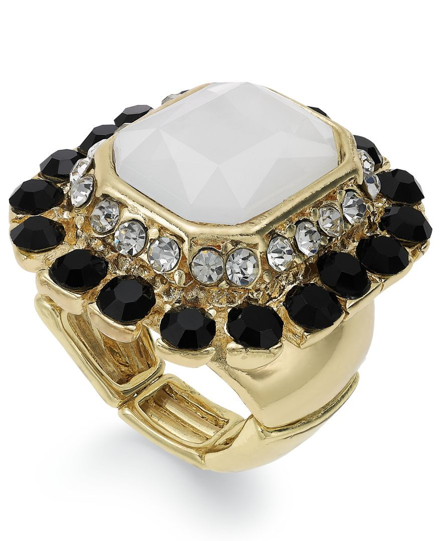 Inc International Concepts 14k Gold-Plated Multi-Stone Art Deco Stretch Ring