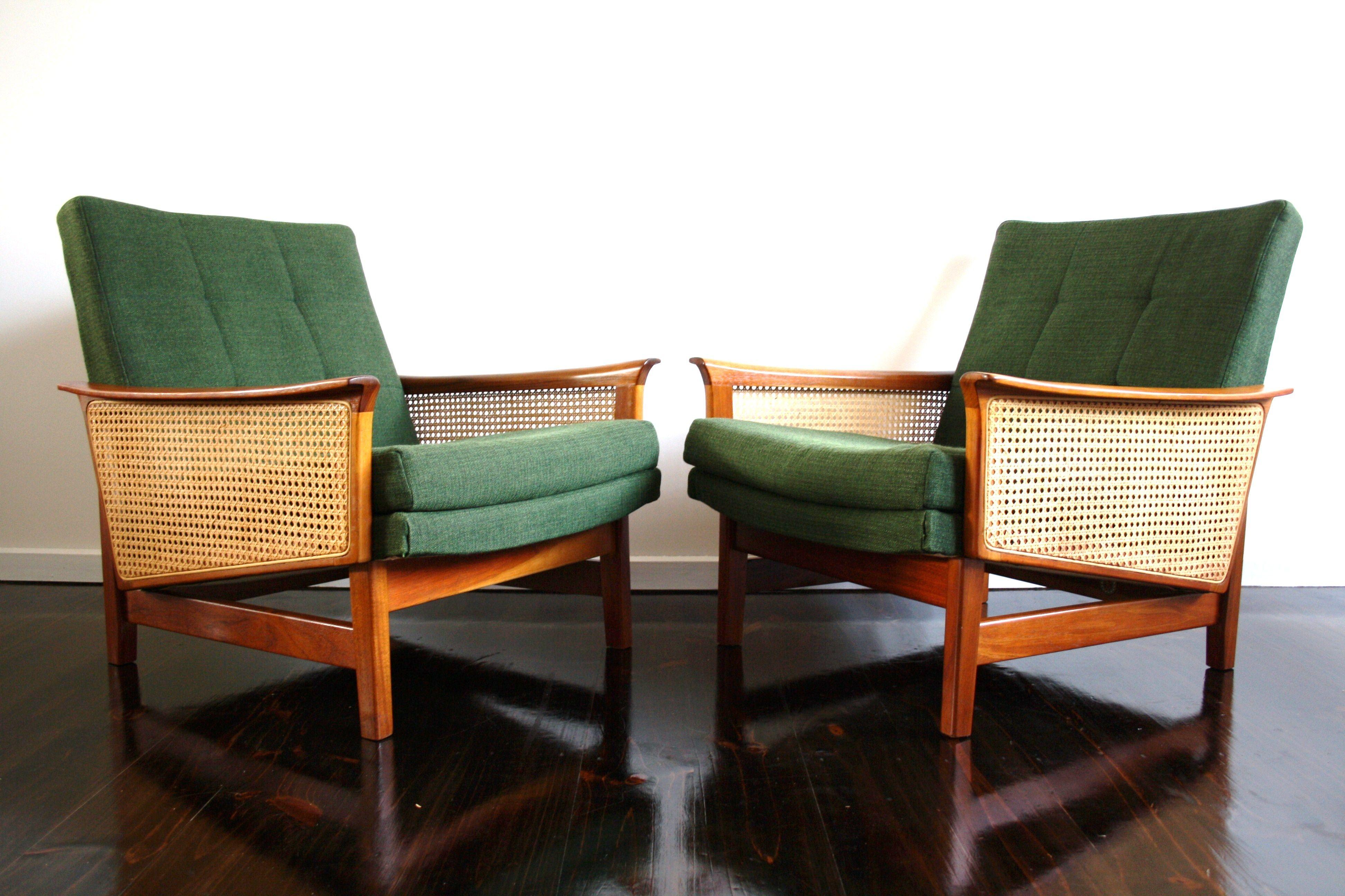 Fler Mid Century armchairs chairs teak rattan cane Retro Vintage