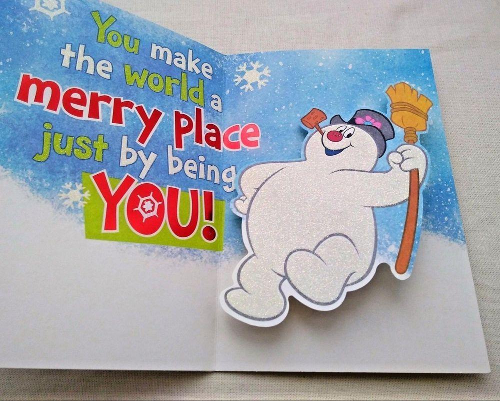 Christmas Card FROSTY The SNOWMAN Glitter Hallmark Pop Up Unused Holly Jolly