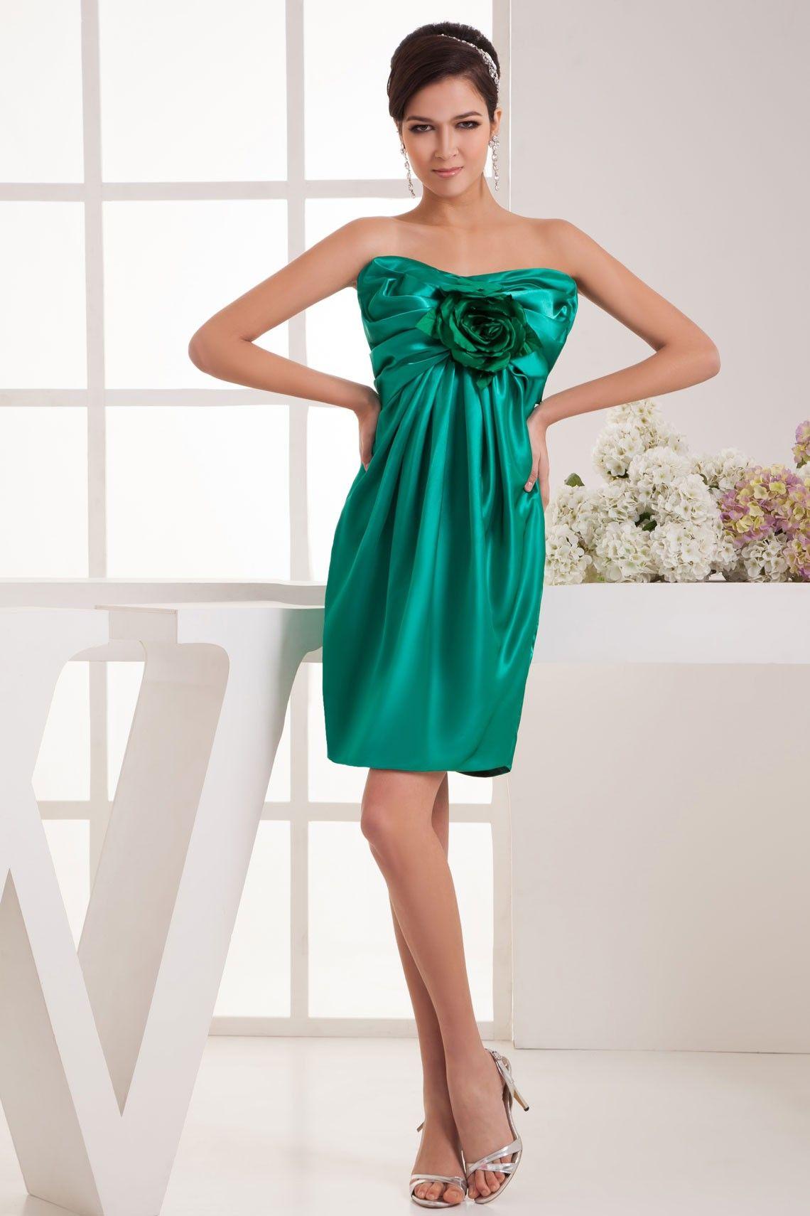 Elastic Silk Like Satin Mini-length Strapless Empire Flowers Zipper Cocktail Dress ADB2623 $228.99 Short Cocktail Dresses