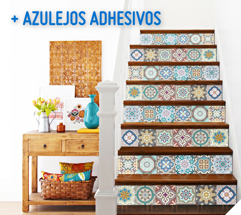 Valdeco azulejo adhesivo 15x16 cm marruecos 12 unidades for Escalera plegable homecenter