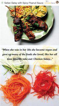 Seitan Satay with Spicy Peanut Sauce (Vegan)