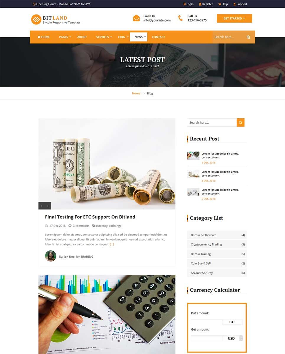cryptocurrency trading website template