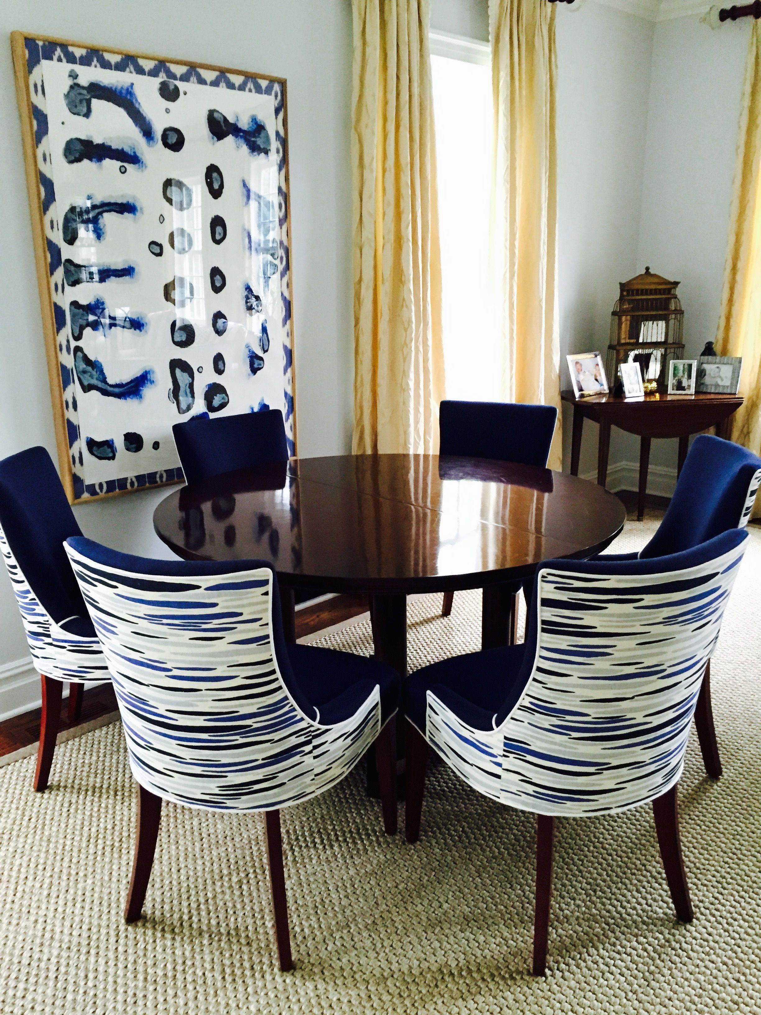 Leopold Group Designed Custom Upholstered Dining Chairs In LULU DK Fabric Robert Allen